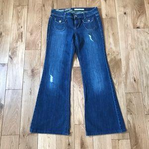 DKNY spring street jeans tube flare flip pockets